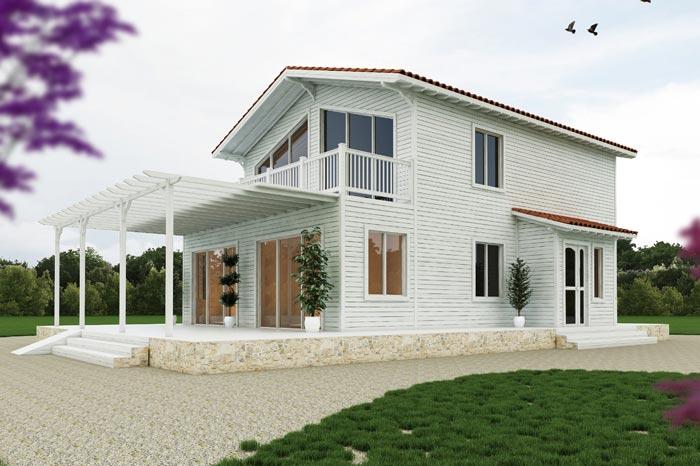 170 m² Ahşap Ev 3D Mimari Proje